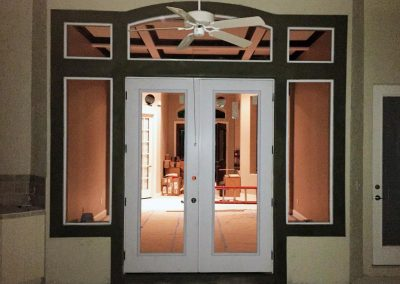 Newly-installed french-style doors